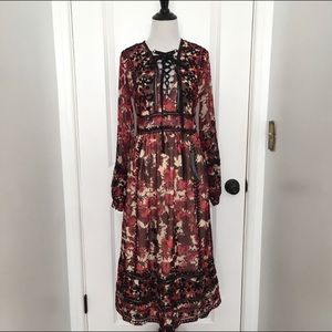 Topshop Midnight Floral Embroidered Dress (NWT)